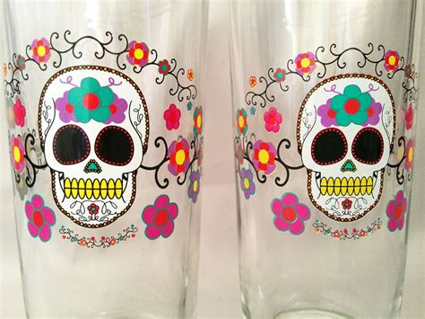 Vintage Halloween Sugar Skull Barware Drinking Glasses