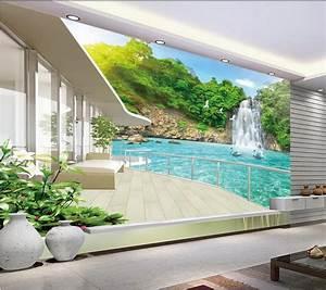 Modern wall 3d murals wallpaper , Beautiful waterfall ...