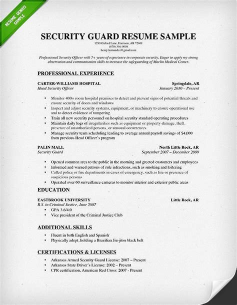 Security Resume by Security Guard Resume Sle Resume Genius