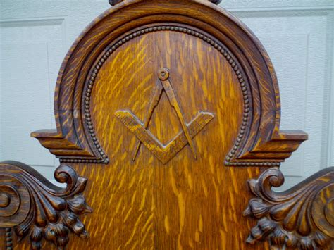 antique ornate carved oak masonic chair for sale