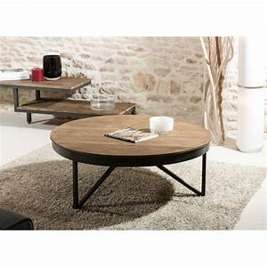 Table Bois Et Noir : table basse ronde 90cm bois teck pieds m tal tinesixe so ~ Dailycaller-alerts.com Idées de Décoration
