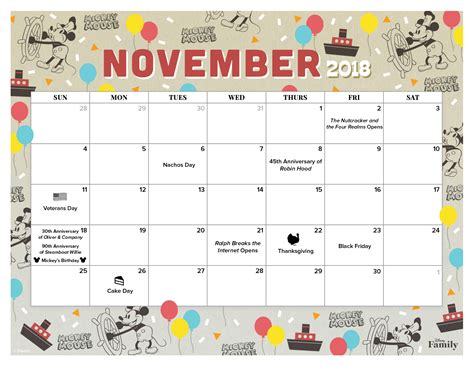 november calendar family disney family