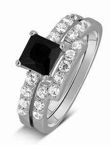 luxurious 150 carat princess cut black and white diamond With black and white diamond wedding ring sets