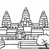 Temple Hindu Angkor Coloring Wat Cambodia Drawing Buddhist Cambodian Drawings Famous Places Google Largest Religious Thecolor sketch template