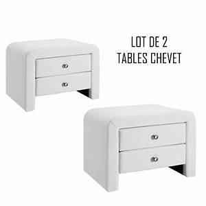 Table Chevet Blanc : lot de 2 tables de chevet blanches design eva meublerdesign ~ Teatrodelosmanantiales.com Idées de Décoration