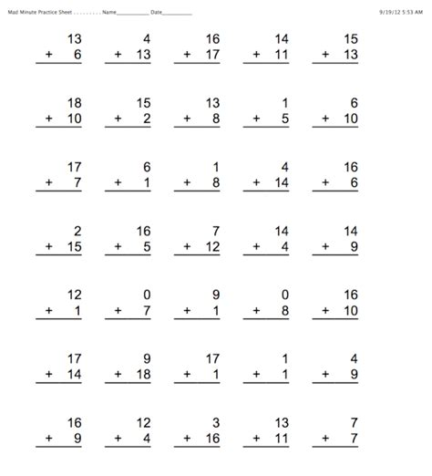 minute maths worksheets minute math worksheets addition