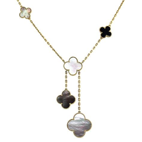 metal drop necklace cleef arpels magic alhambra necklace with pendant