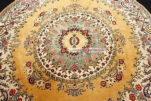 Teppich 100 X 200 : feiner orient teppich gelb 200 x 200 cm rund perserteppich alt old carpet rug ~ Bigdaddyawards.com Haus und Dekorationen