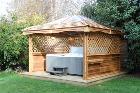 The added physical benefits of soaking in a hot tub are that you can sleep better, your skin gets a healthy glow, and minor body aches and. Simon Bowler Bespoke Garden Architecture: Wooden Hot Tub Surrounds | Yorkshire