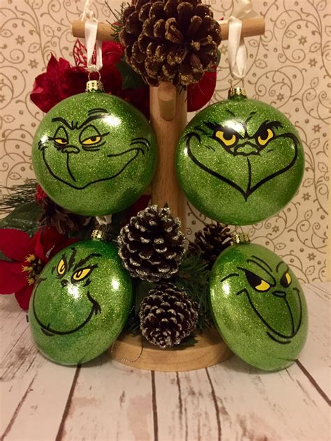 christmas ornaments set grinch baubles set of 4 christmas