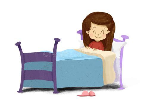 ragazza a letto disegno di una ragazza si trova a letto sorridere