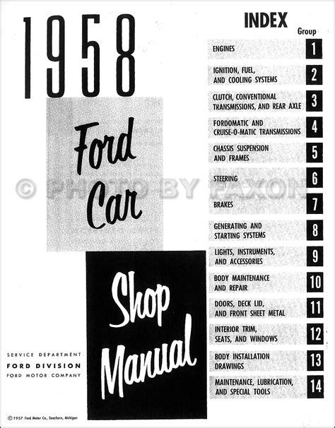 Ford Car Repair Shop Manual Reprint