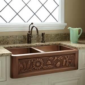 36 quot floral design double bowl copper farmhouse sink kitchen