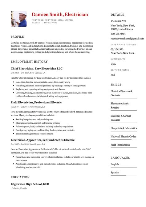 Resume For by 12x Free Electrician Resume Template