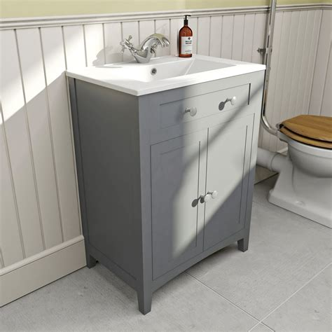 Vanity Unit Basin by The Bath Co Camberley Satin Grey Vanity Unit With Basin 600mm