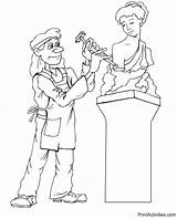 Sculptor Coloring Statue Stone Creating sketch template