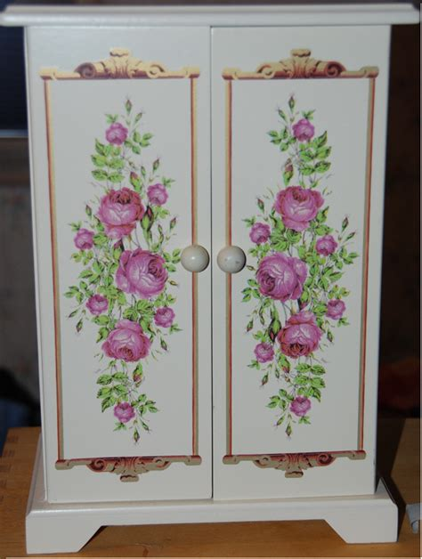 Painted Jewelry Armoire White Painted Wood Jewelry Armoire Pink Floral Pattern