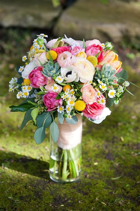 Colorful Bridal Bouquet Pink Green Yellow White Peach
