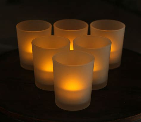 automatic tea light candles 3 inch white frosted battery operated tea light votive