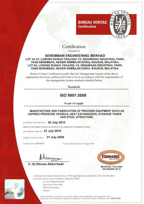 bureau veritas certification seremban engineering berhad