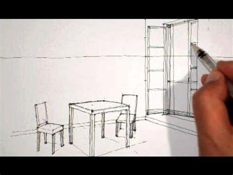 dessin de chaise en perspective dessiner en perspective intérieure table chaises fenêtre