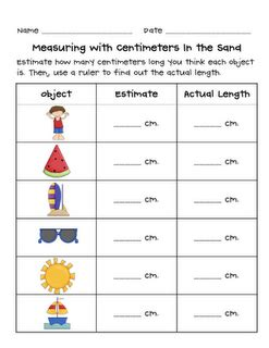grade 2 math number a6 estimation and measuring length of larger objects in a sandbox
