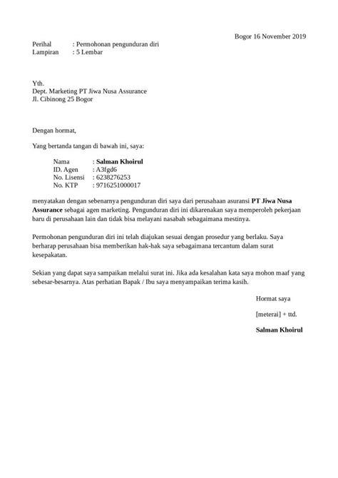 contoh surat pengunduran diri dari perusahaan yang baik