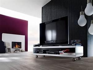 Tv Tisch Rollen : tv lowboard sideboard kommode tv tisch rack media rollen wei hochglanz guido ebay ~ Watch28wear.com Haus und Dekorationen