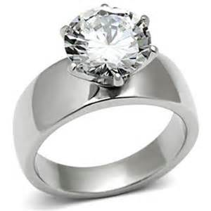 womens engagement rings wide band solitaire cz womens stainless steel wedding ring size 5 6 7 8 9 10 ebay