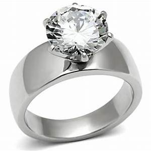 wide band solitaire cz womens stainless steel wedding ring With wide band wedding rings for women