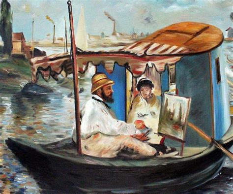 Manet Monet In His Studio Boat by Manet Claude Monet Working On His Boat
