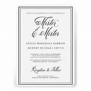 gay wedding invitations mister elegant script a well With same sex wedding ceremony script
