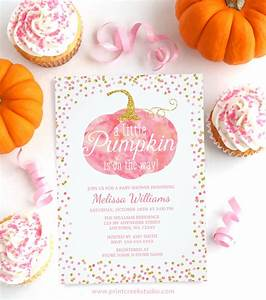 Pink And Gold Fall Pumpkin Baby Shower Invitations - Party XYZ