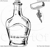 Bottle Whisky Clipart Vector Corkscrew Sketched Illustration Coloring Royalty Pages Template Tradition Sm Sketch sketch template