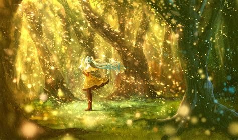 Anime character series beautiful girl vocaloid forest ...