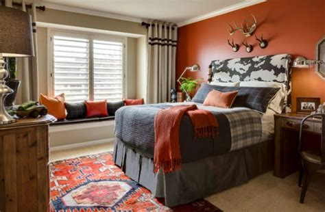 paint colors for boy bedrooms cool boys room paint ideas for colorful and brilliant 19385   Refined teen bedroom with a splash of orange