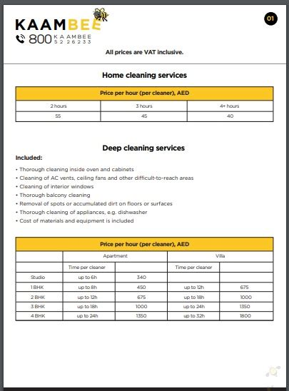 cleaning services price list examples
