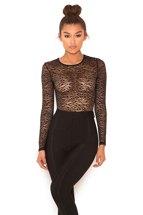 Clothing  Bodysuits  u0026#39;Carmineu0026#39; Black Sheer Lace Long Sleeve Bodysuit