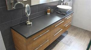 finition beton cire et bambou caramel pour un meuble de With meuble salle de bain largeur 180