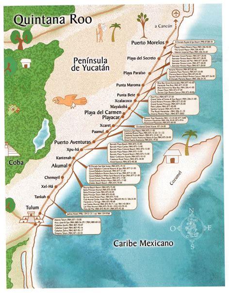 handy map  mayan riviera mexico quintana roo