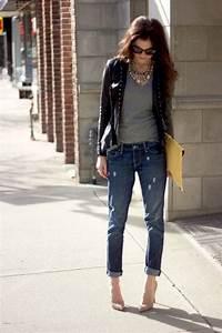 Blazer + T-shirt + statement necklace + boyfriend jeans + pumps | Fashion | Pinterest ...