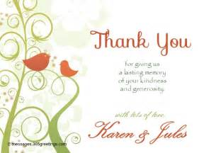 thank you wedding notes wedding thank you messages 365greetings