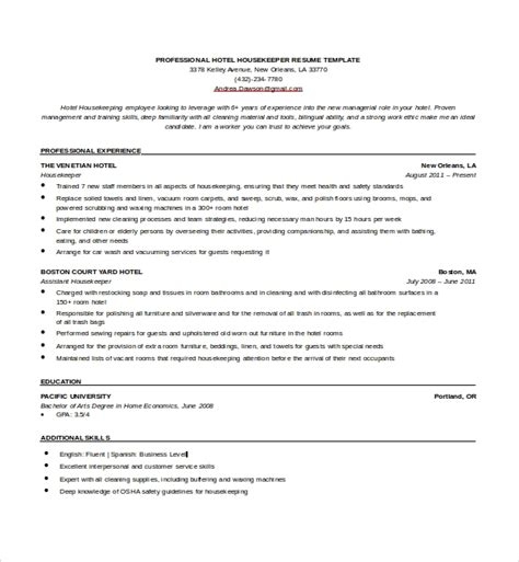 Housekeeping Resume Template by A Housekeeper Resume Internationaldissertations Web Fc2