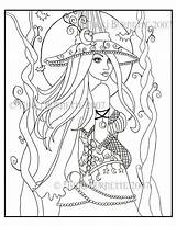 Coloring Pages Fantasy Witch Wiccan Adult Pagan Colouring Drawing Printable Halloween Cassia Witches Dark Fairy Steampunk Aceo Kit Gothic Getdrawings sketch template