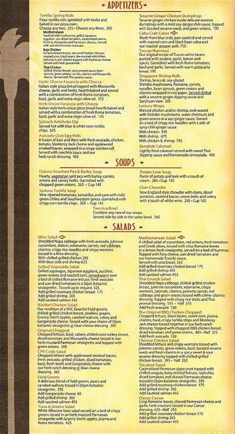 california pizza kitchen menu california pizza kitchen power plant mall wiki alumni net