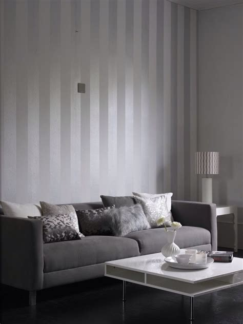 Striped Wallpaper Living Room Ideas by Metallic Grey And White Stripe Wallpaper Design From The