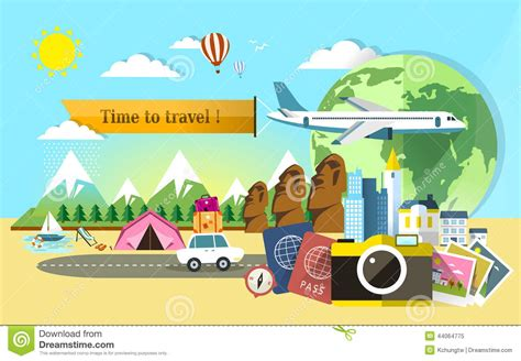 Flat Design For Travel Around The World Stock Vector