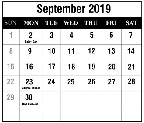 september  blank printable calendar  excel