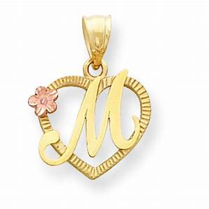 14k two tone gold initial letter heart charm jewelry With letter m jewelry