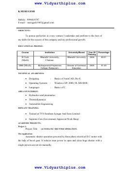 resume format for btech eee